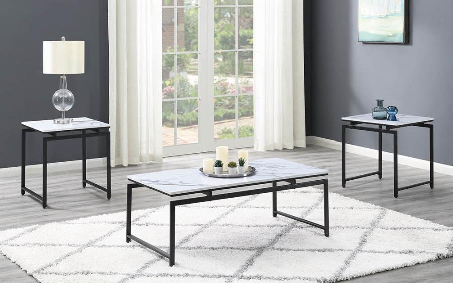 708153 3 pc Porch & Den fulmar white faux marble dark gunmetal frame coffee and end table set