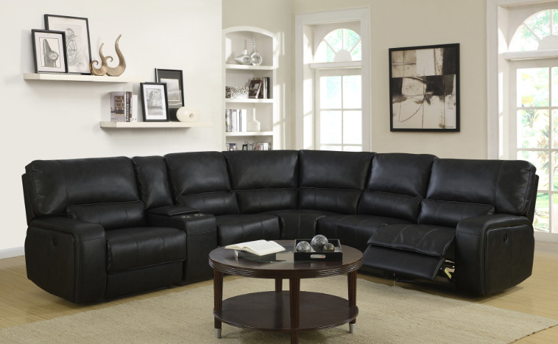 Merveilleux 6 Pc Quincy Black Leather Aire Upholstered Sectional Sofa With Recliners  And Drink Console