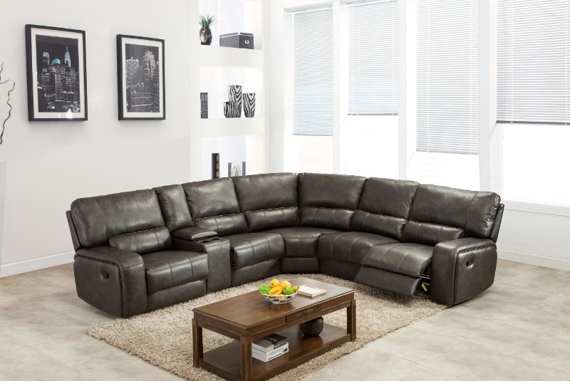 6 pc Quincy gray leather aire upholstered sectional sofa with recliners and drink console