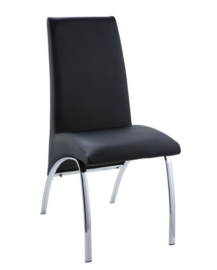 Acme 71112 Set of 2 Pervis black finish faux leather dining chairs chrome legs