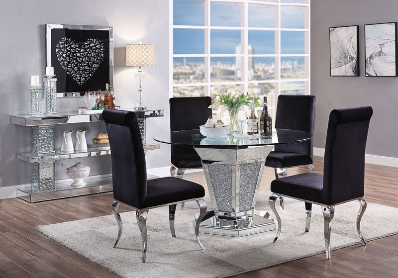 Acme 71285 62072 5 Pc Noralie Mirrored Faux Diamond Metal And 52 Round Glass Top Dining Table Set