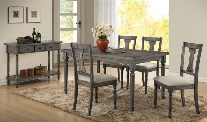 Acme 71435-37 5 pc wallace weathered washed gray finish wood dining table set