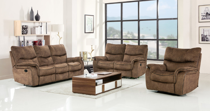 GU-7167LTBR-2PC 2 pc Red barrell studio light brown palomino fabric sofa and love seat with recliner ends