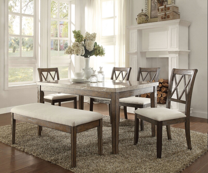 ACM71715-17-18 6 pc claudia collection salvage brown finish wood and white marble top dining table set
