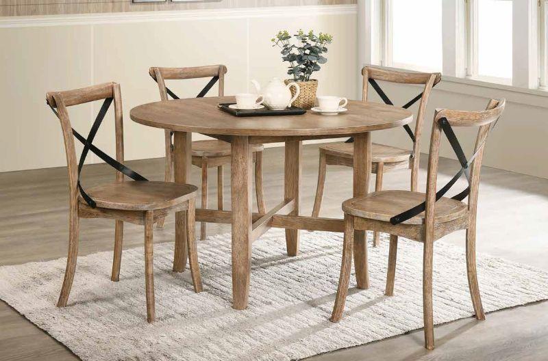 "Acme 71775-77 5 Pc Kendric Rustic Oak Finish Wood 47"" Round Dining Table Set"