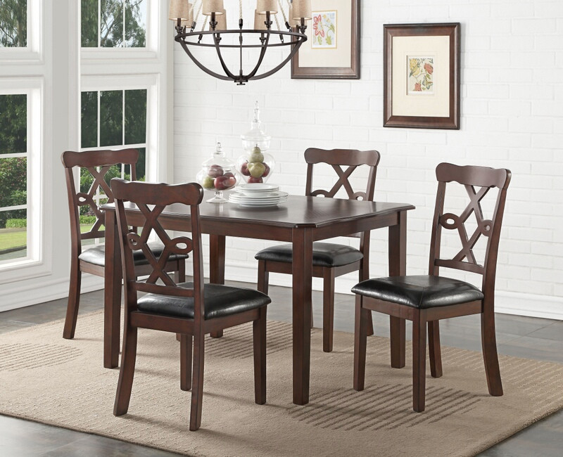 Acme 71835 5 pc ingeborg espresso finish wood dining table set