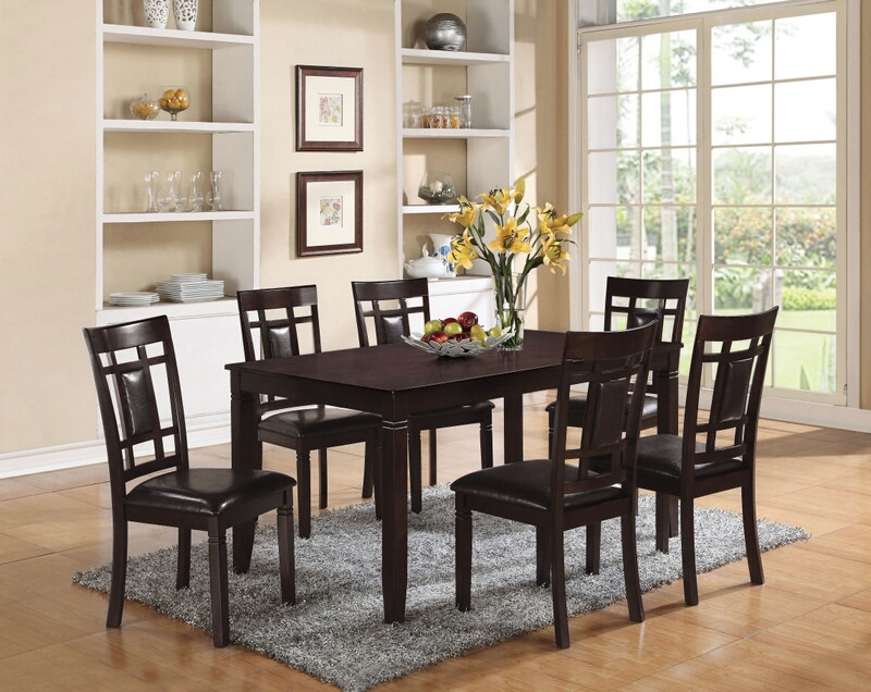 Acme 71955 7 pc Sonata espresso finish wood dining table set