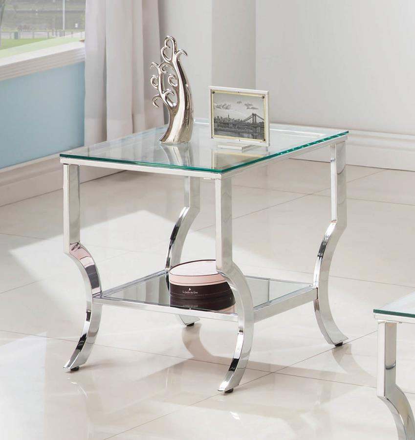720337 WIlla arlo interiors anndale chrome finish metal and glass end table