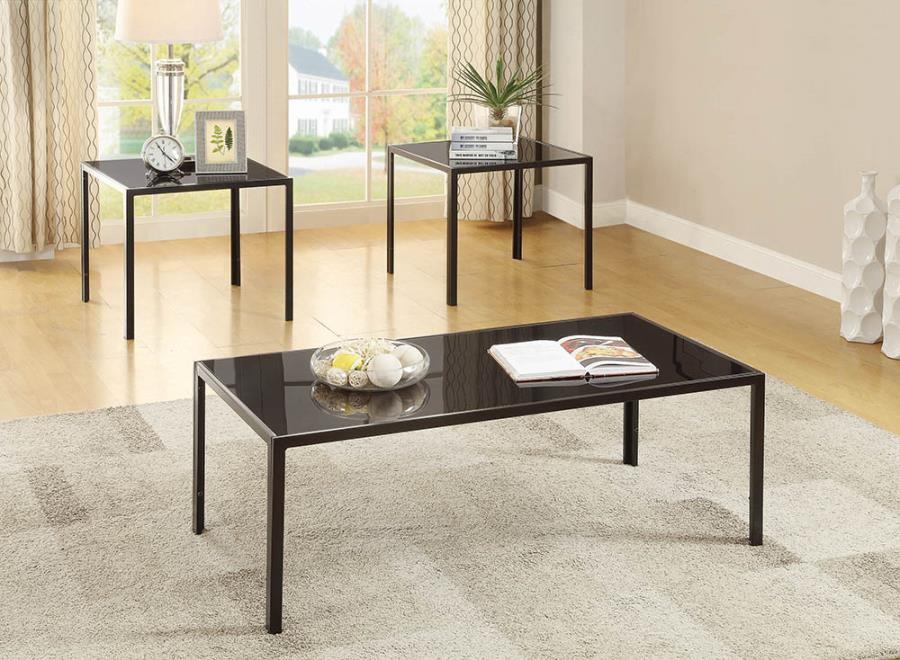 720457 3 pc Wildon home elite warm medium brown metal and glass coffee and end table set