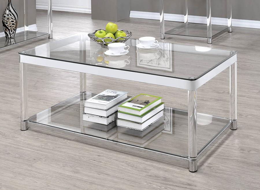 720748 Mercury row benter chrome metal and clear acrylic coffee table