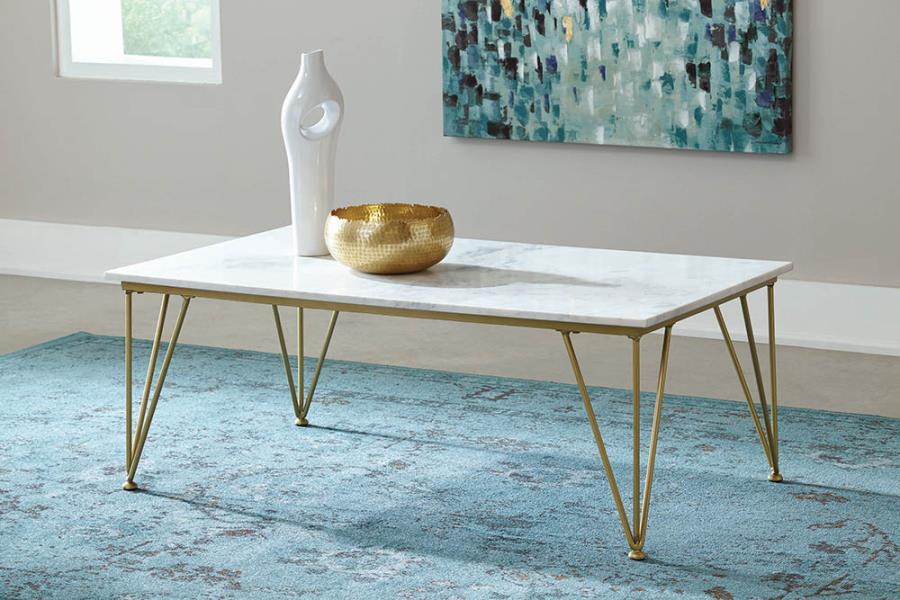 721458 Brayden studio baggs modern marble top polished brass metal coffee table
