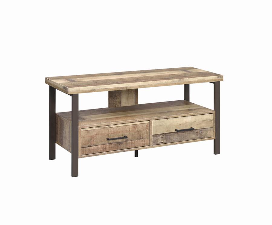 """721882 WIlliston forge carone weathered reclaimed pine finish wood 48"""" tv stand with metal frame"""