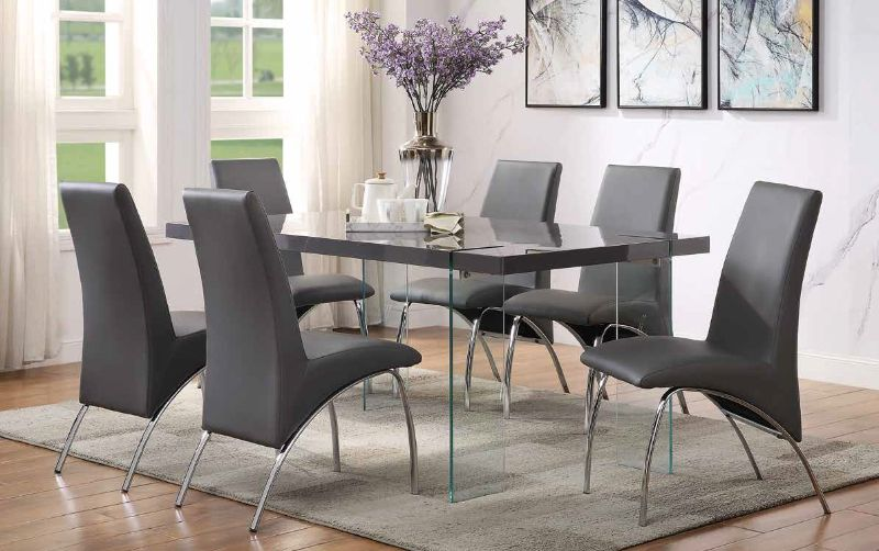 Acme 72190-92 7 pc Noland gray high gloss top and clear glass legs dining table set