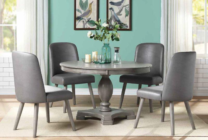 "Acme 72205-02 5 pc One allium way jessica waylon gray oak finish wood 48"" round pedestal dining table set"