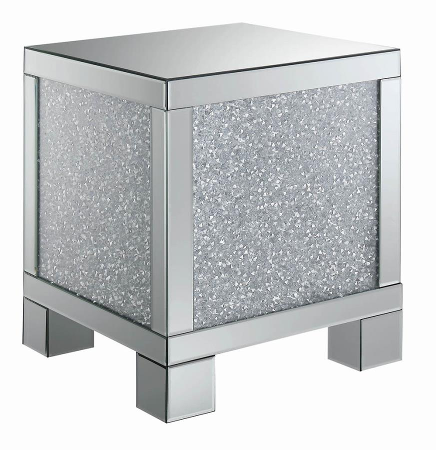 722497 Rosdorf park lysette glass mirror and crystal square modern end table