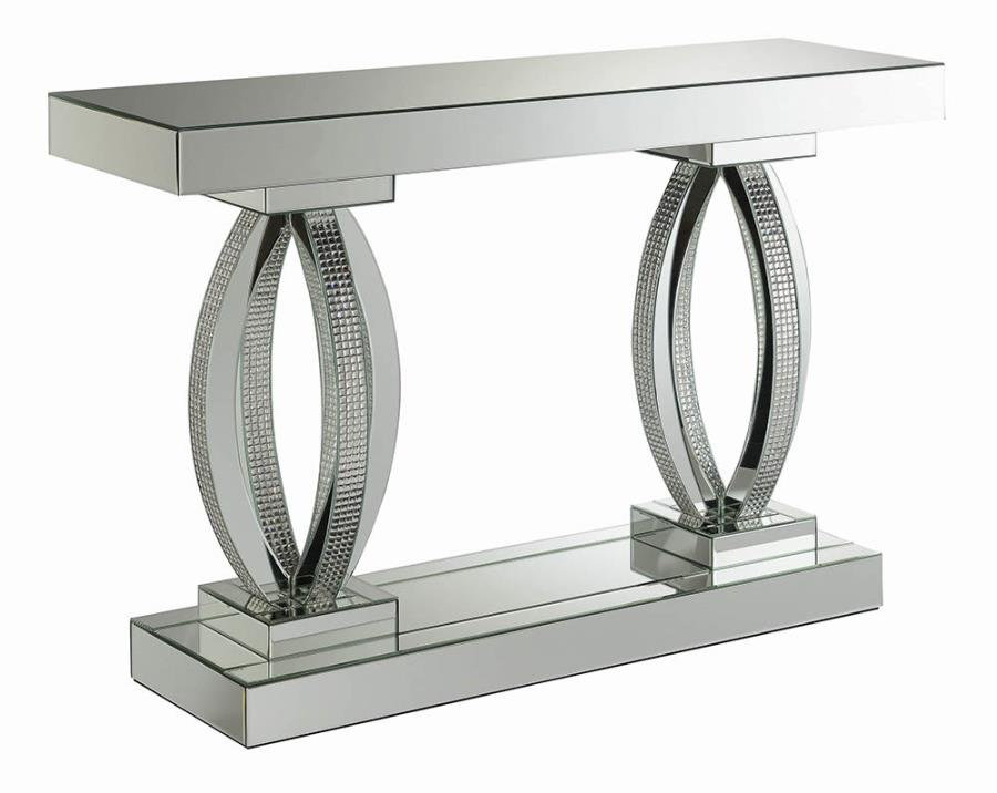 722519 Rosdorf park lenum glass mirror and crystal curved base sofa entry console table