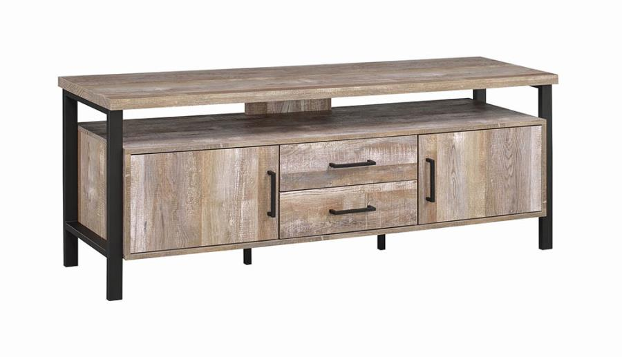 """722572 Union rustic farrah weathered reclaimed oak finish wood 59"""" tv stand with metal frame"""
