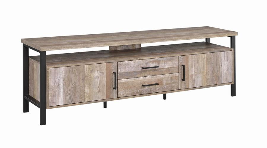 """722573 Union rustic farrah weathered reclaimed oak finish wood 71"""" tv stand with metal frame"""