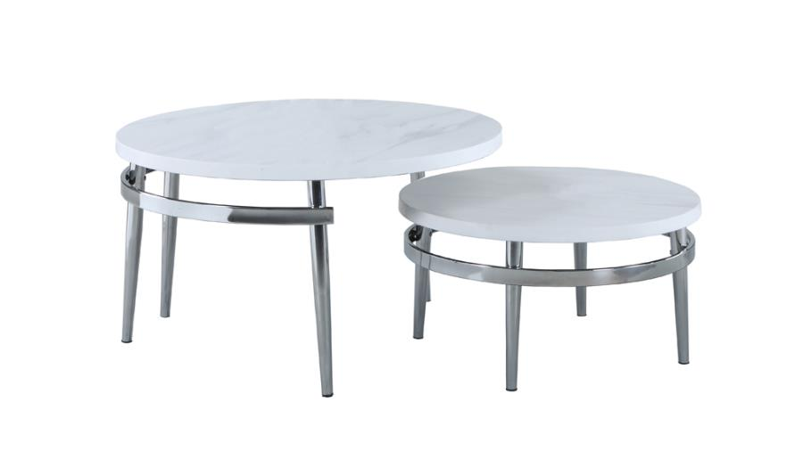722968 2 pc Wildon home chrome finish metal and round faux marble top nesting coffee table set