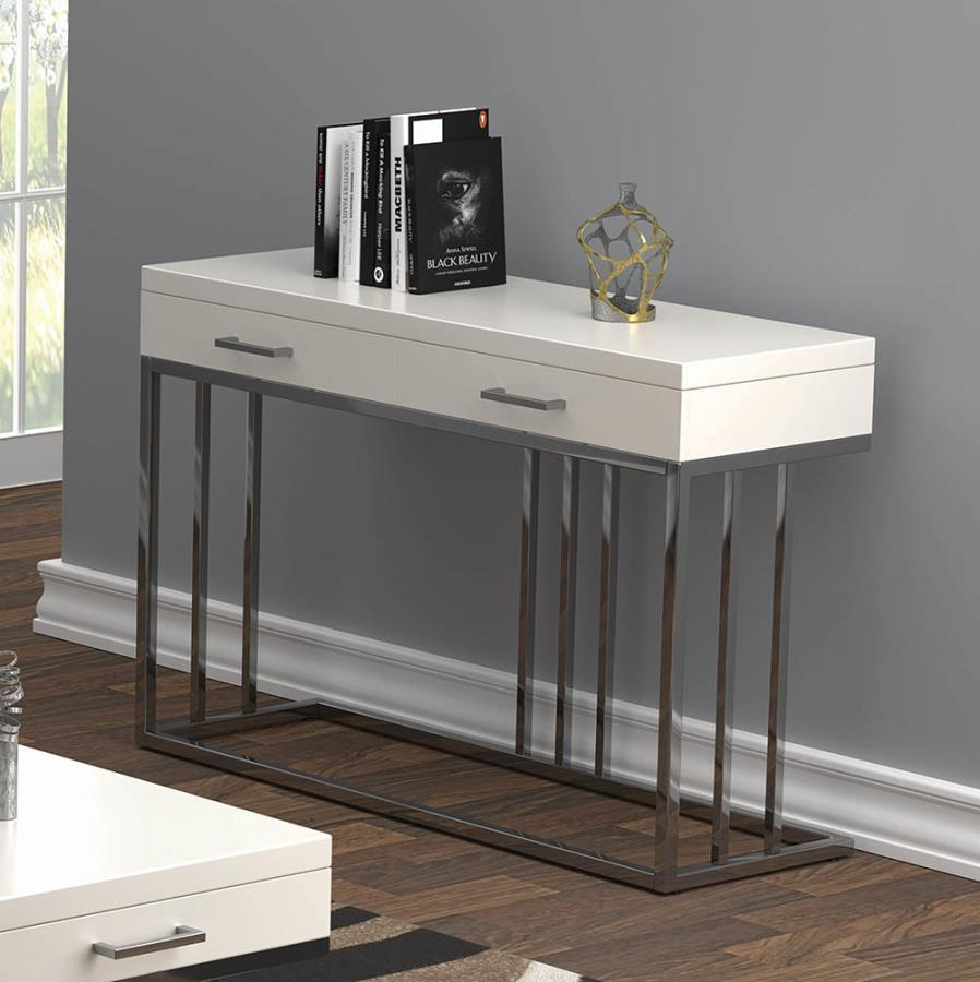 723139 Orren ellis 2 drawer glossy white chrome metal frame sofa entry console table