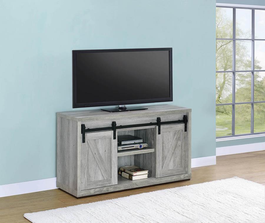 "723261 Gracie oaks grey driftwood finish wood farmhouse 48"" tv stand with sliding doors"