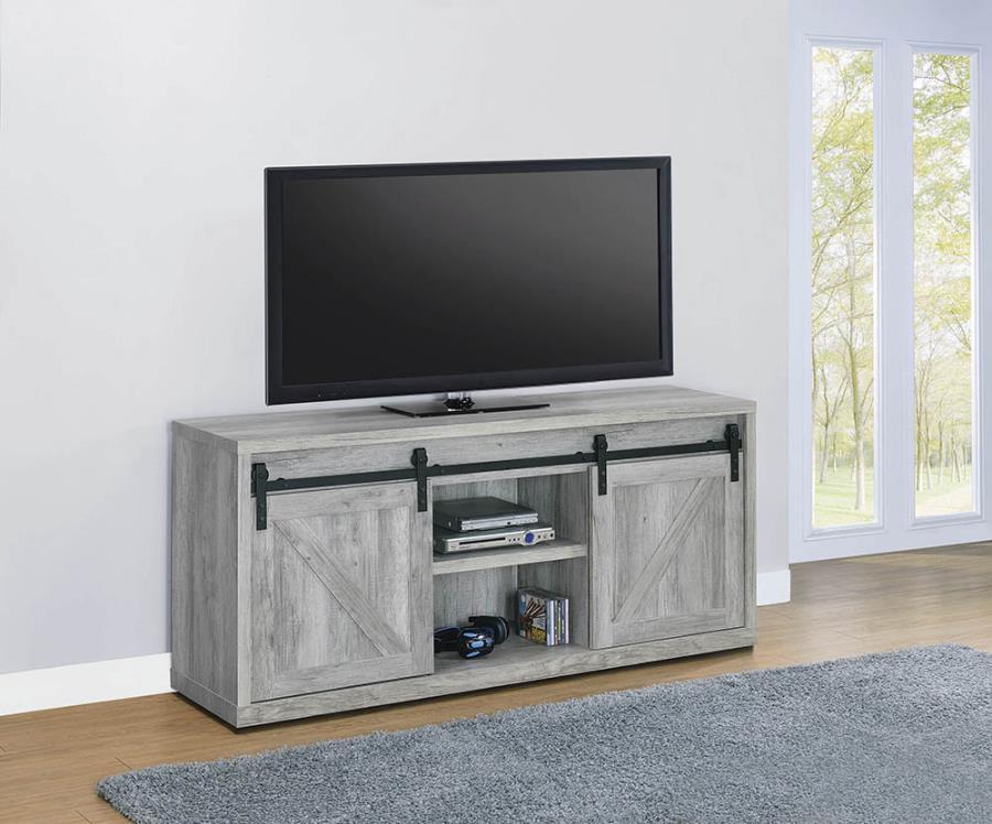 "723262 Gracie oaks grey driftwood finish wood farmhouse 59"" tv stand with sliding doors"