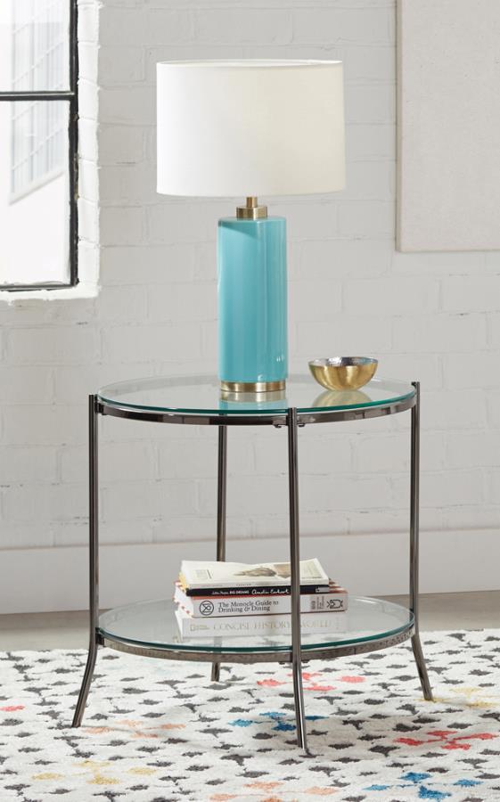 723267 Wildon home orren ellis black nickel glass top round end table