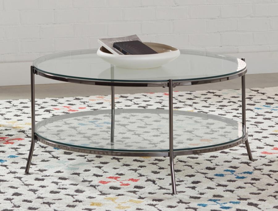 723268 Wildon home orren ellis black nickel glass top round coffee table