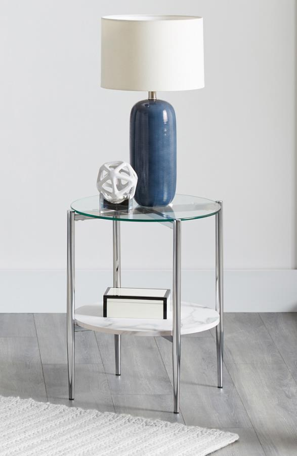 723277 Wildon home chrome finish metal and round faux marble and glass top end table