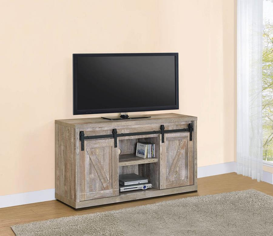 "723281 Gracie oaks weathered oak finish wood farmhouse 48"" tv stand with sliding doors"
