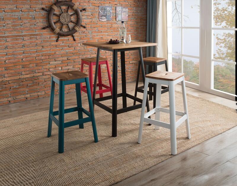 Acme 72330 5 pc Jacotte natural and black finish wood bar table set