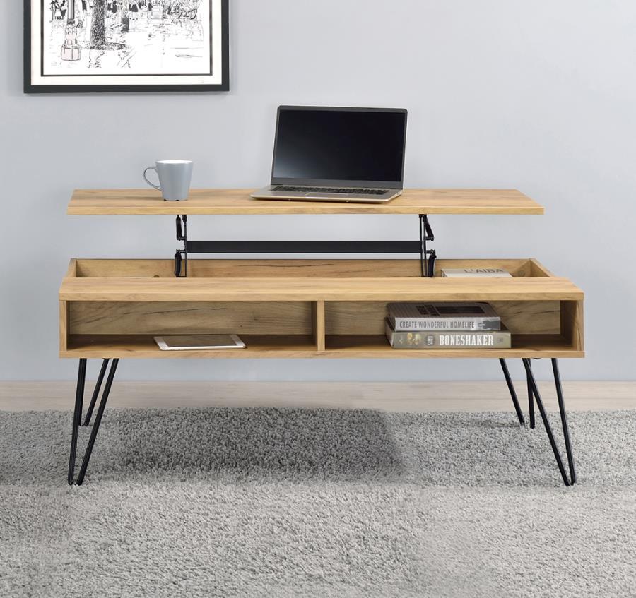 723368 Wildon home red barrel studio golden oak finish wood lift top coffee table