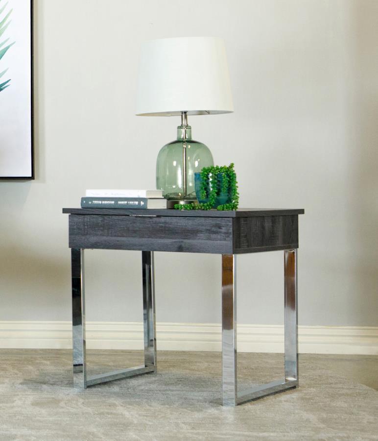 723457 Wildon home red barrel studio dark charcoal finish wood end table