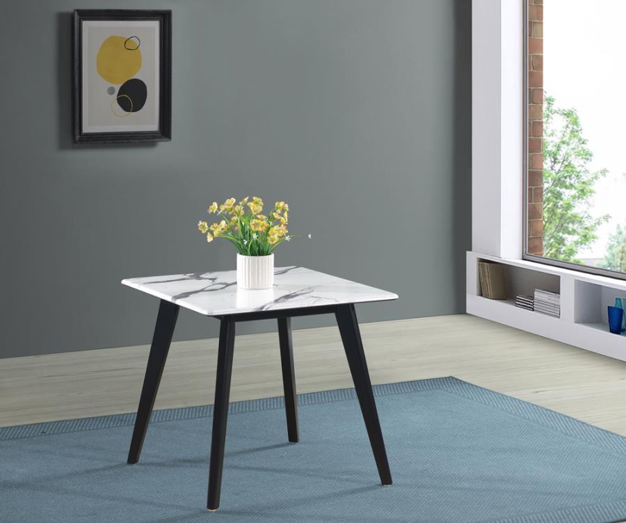 723577 Wildon home orren ellis black frame white faux marble top end table