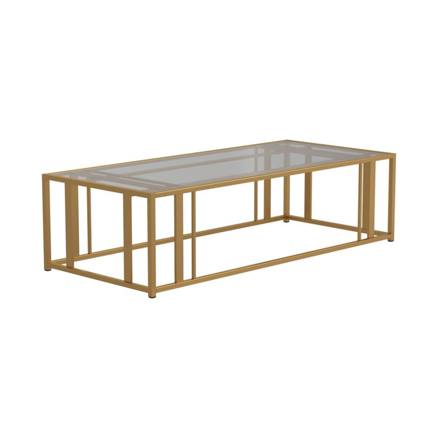 723608 Wildon home orren ellis matte brass finish metal glass top coffee table