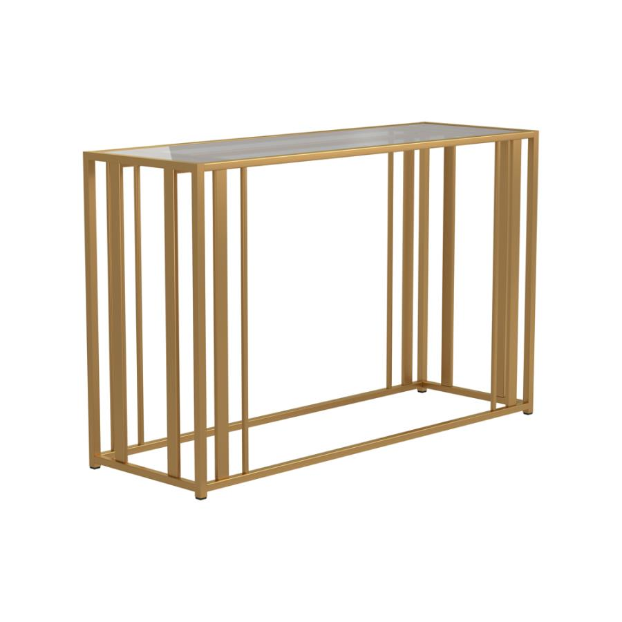 723609 Wildon home orren ellis matte brass finish metal glass top sofa table