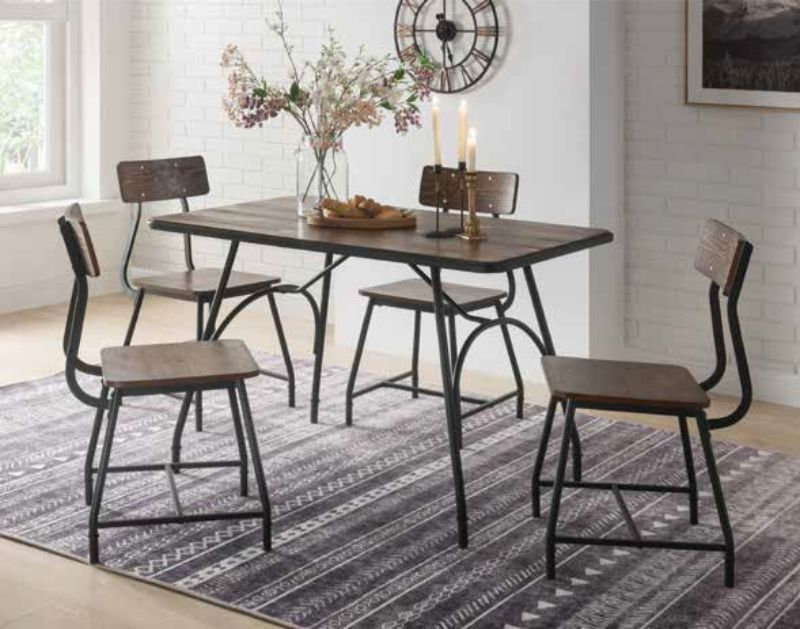 Acme 72450 5 pc Paras industrial walnut finish wood dining table set