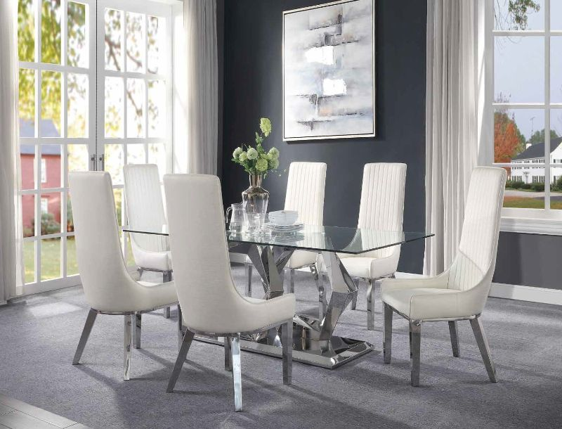 Acme 72470-73 7 pc Gianna clear glass top and stainless steel frame dining table set