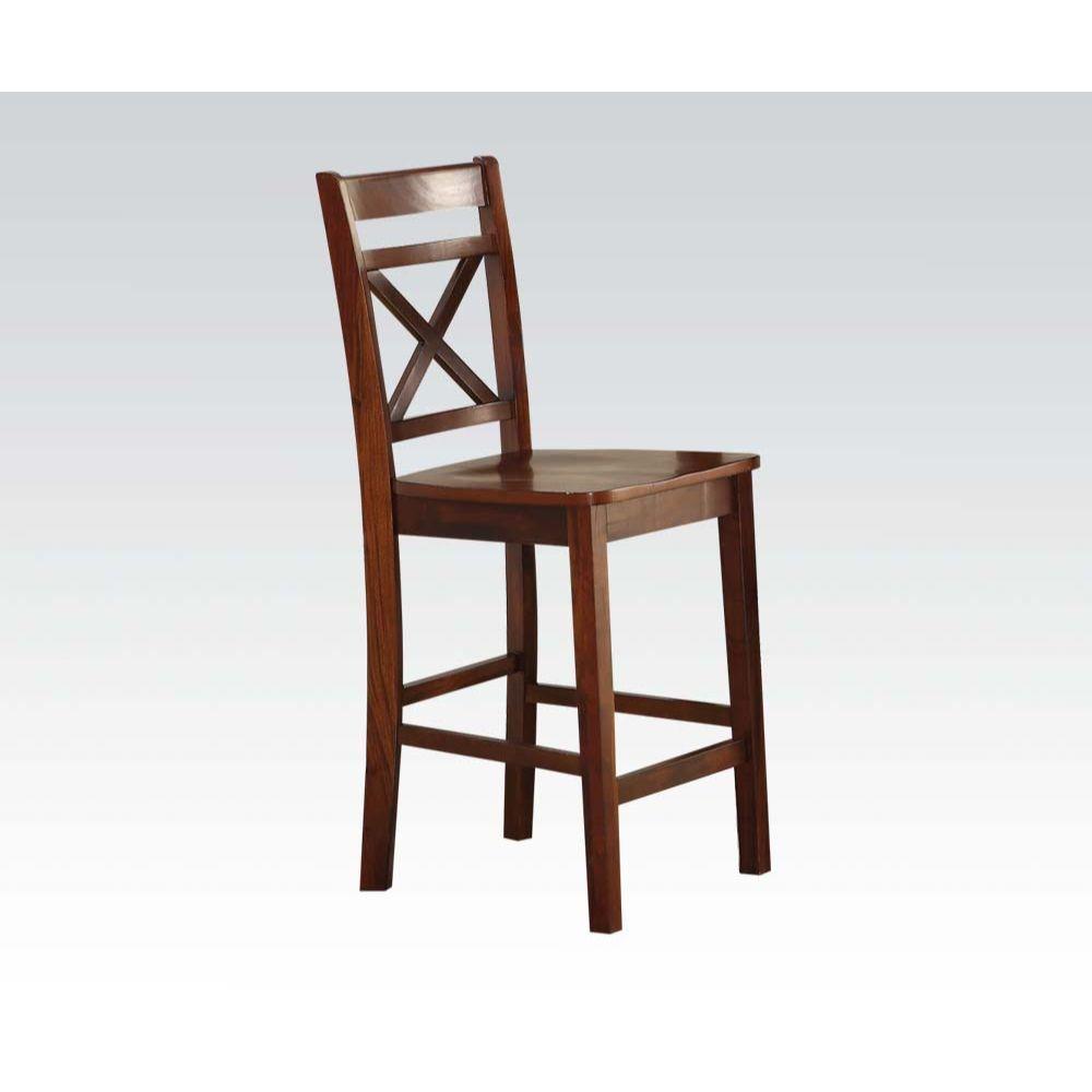 Acme 72537 Set of 2 Tartys cherry finish wood counter height bar stools