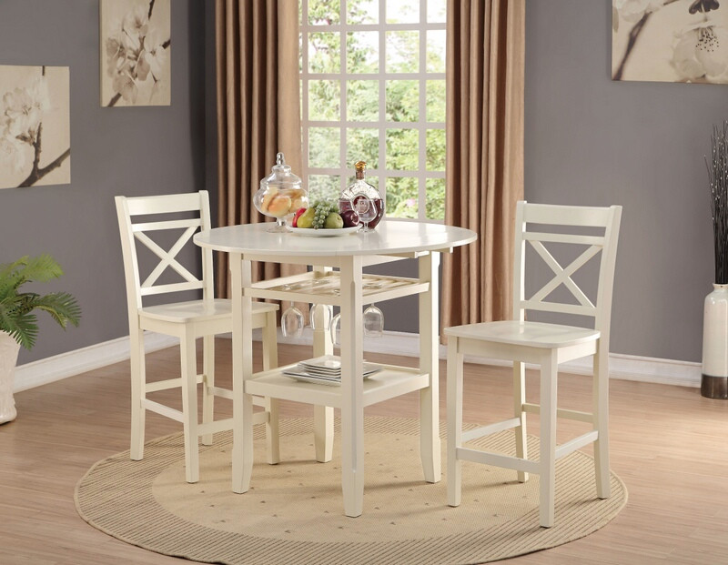 Acme 72545-47 3 pc Tartys cream finish wood round counter height drop leaf bar table set
