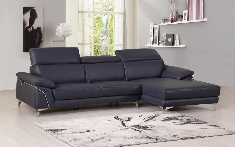 727NAVY-2PC-SECT 2 pc Orren ellis luigi divanitalia navy italian leather sectional sofa with chaise