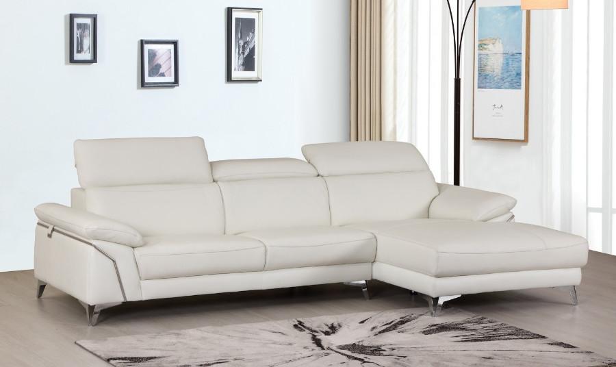 727WH-2PC-SECT 2 pc Orren ellis luigi divanitalia whiteitalian leather sectional sofa with chaise