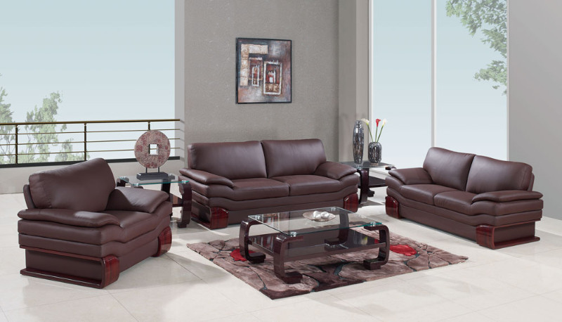 2 pc Regina collection modern style brown genuine leather upholstered sofa and love seat set