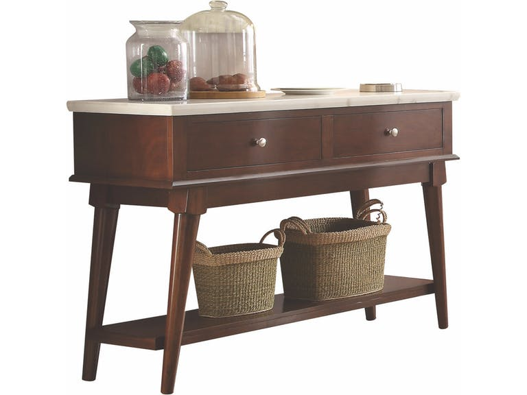 Acme 72823 Gasha walnut finish wood and white marble top sideboard server buffet cabinet