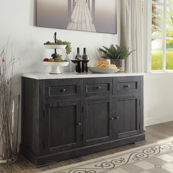 Acme 72847 Nolan white marble top salvaged dark oak finish wood server sideboard cabinet