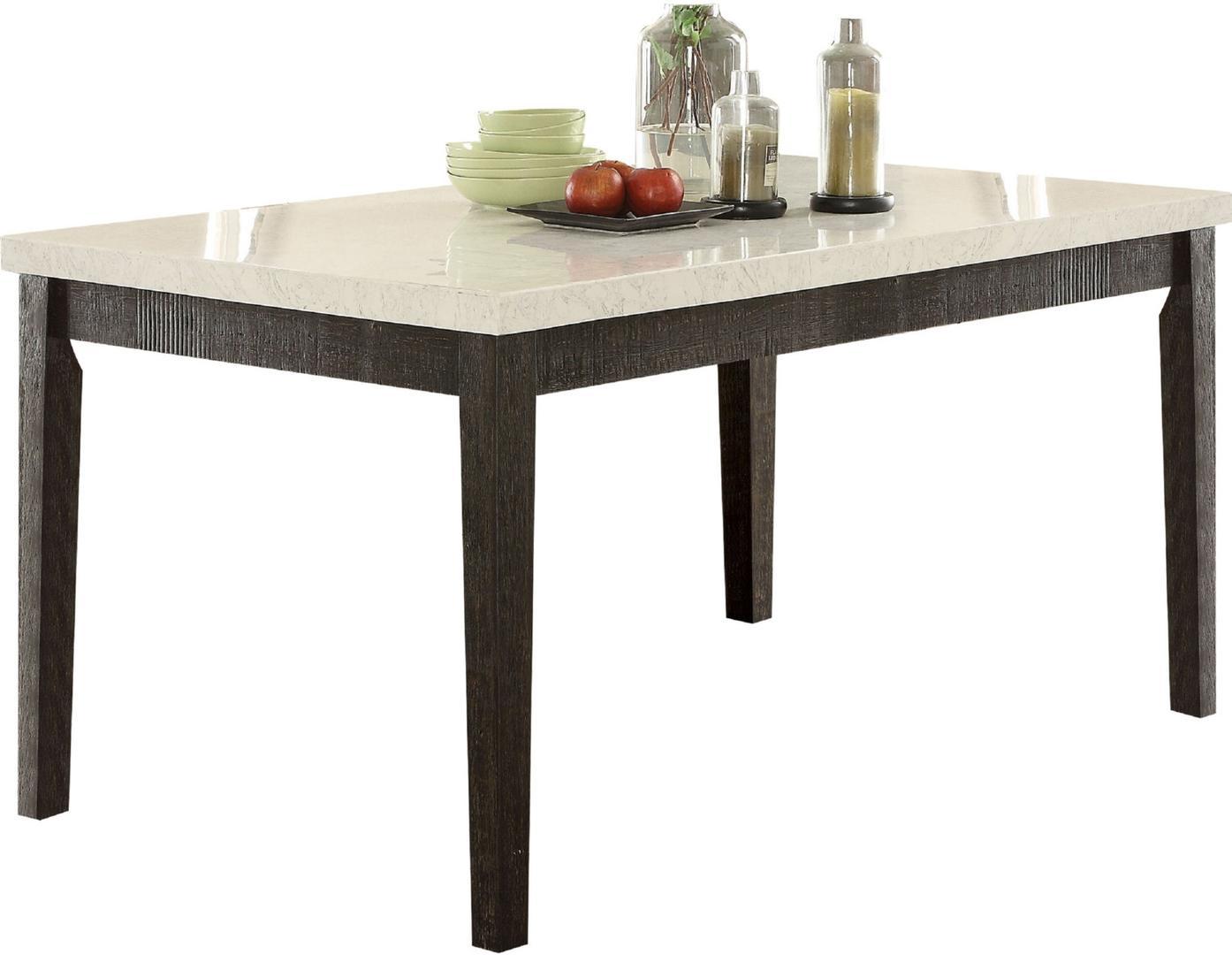 Acme 72850-52 7 pc Nolan white marble top salvaged dark oak finish wood dining table set