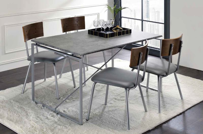 Acme 72905-07 5 pc Darby home co yeung jurgen faux concrete silver metal frame dining table set