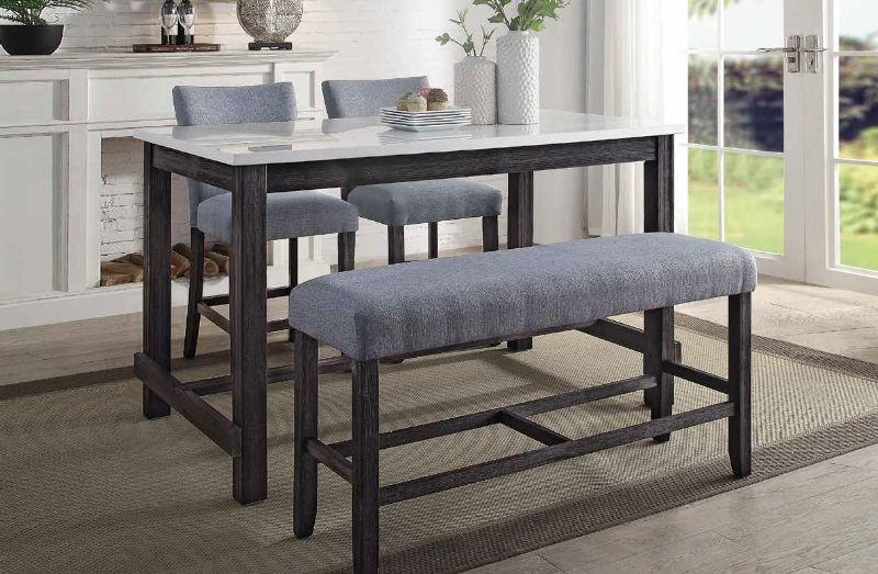 Acme 72940-42-43 4 pc Yelena weathered espresso finish wood marble top counter height dining table set