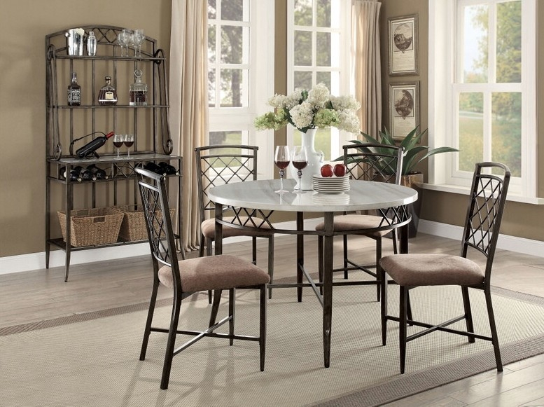 "Acme 73000-02 5 pc Aldric 45"" round faux marble top black metal frame dining table set"