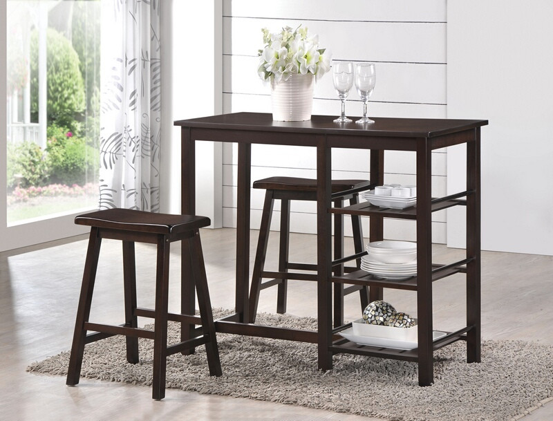 ACM73050 3 pc Nyssa collection walnut finish wood counter height breakfast dining set